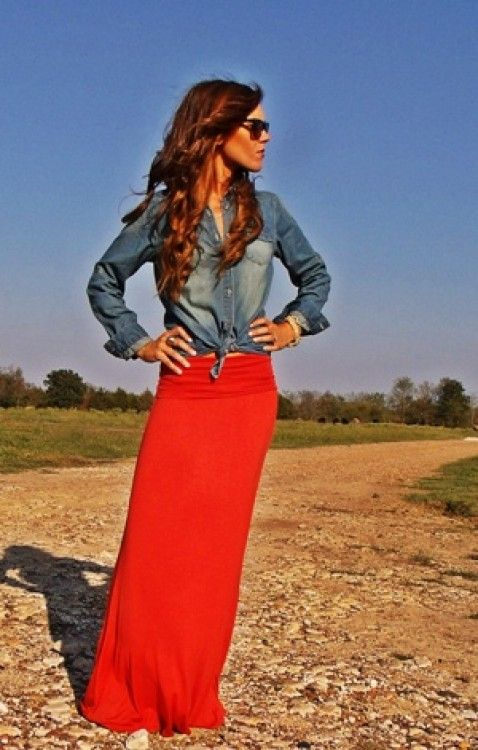 Red maxi with denim....you could pull off this look (maybe not the color of skirt, but black/gray/brown maxi skirt could def be a good staple)  @Christine Smythe Smythe Smythe Koop: Dream Closet, Denim Shirts, Red Maxi Skirt, Maxi Skirts