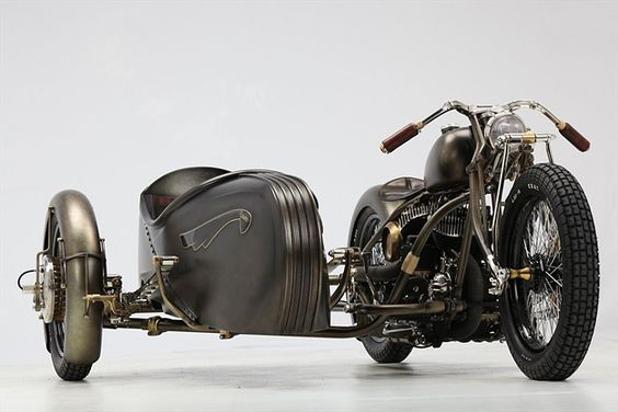 Union, custom 1942 Harley-Davidson Model U and side car - by Abnormal Cycles: Vintage Motorcycles, Side Cars, Cars Motorcycles, Art Deco, Harley Davidson Models