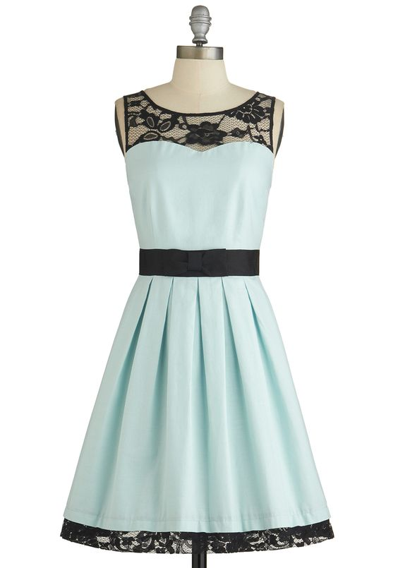 I like the contrast of the light blue and black lace. Paired with black heels or sandals, this would be a great look for an evening or more formal wedding. Soiree Stunner Dress, #ModCloth: Style, Modcloth, Retro Vintage Dresses, Black Laces, Soiree Stunne