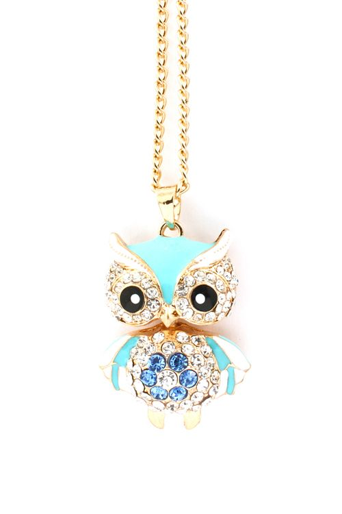Turquoise Crystal Owl Pendant | Awesome Selection of Chic Fashion Jewelry | Emma Stine Limited cute!: Fashion Jewelry Necklace, Owl Pendant, Cute Owl, Sapphire Necklace, Cute Necklace, Owl Necklace, Fashion Necklace