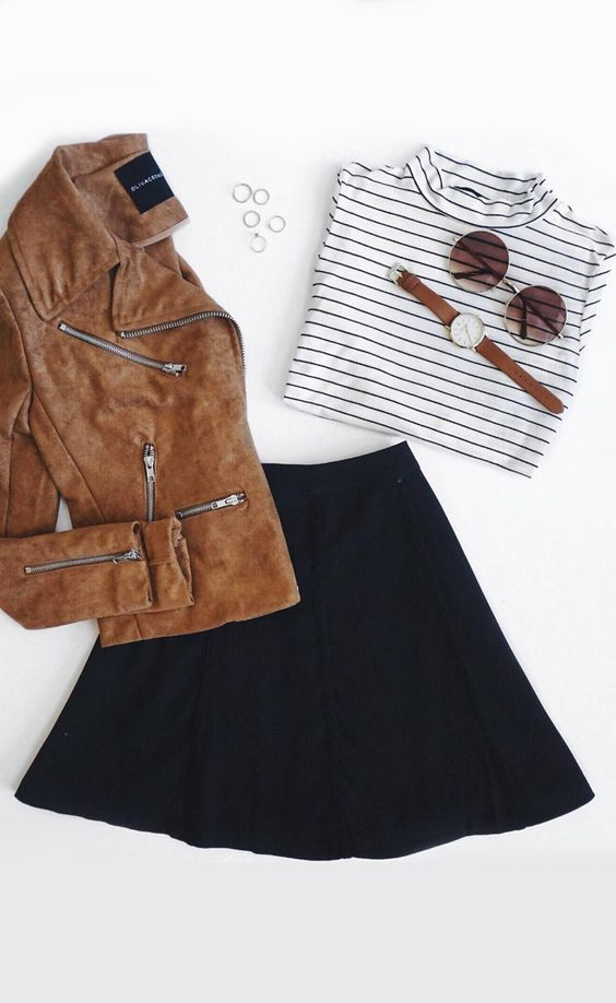 A classic collared neckline lies atop a microfiber suede bodice, accented by exposed silver zipper pockets and an asymmetrical zipper closure. #lovelulus: Skater Skirt Outfits, Black Skater Skirt Outfit, Brown Suede Jacket Outfit, Black Skirt Outfit Skate