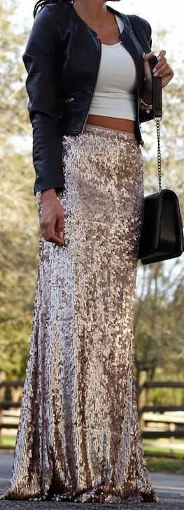 Gold Sequin Maxi Dress {need all of this} @Addie Knight Knight Hoobler Elsbecker ??: Sequin Skirt, Sequin Outfit, Street Style, Sequin Maxi Skirt, Sequin Maxi Dress, Sparkle Skirt
