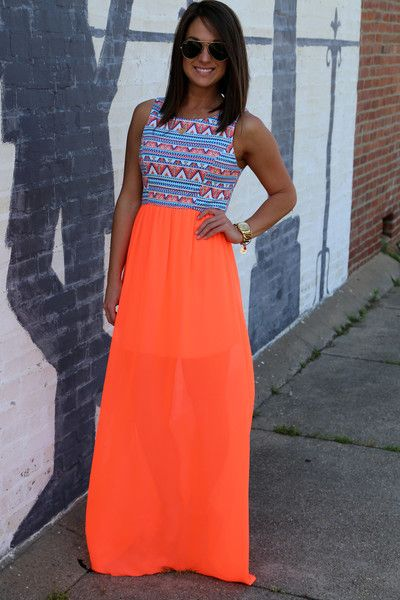 If this skirt with its neon #orange doesn't grand your eye I don't know what will! Fun summer skirt! #NycFitnessFamilyFinds: Neon Outfit, Summer Dress, Summer Outfit, Summer Maxi Dress, Tank Maxi Dress