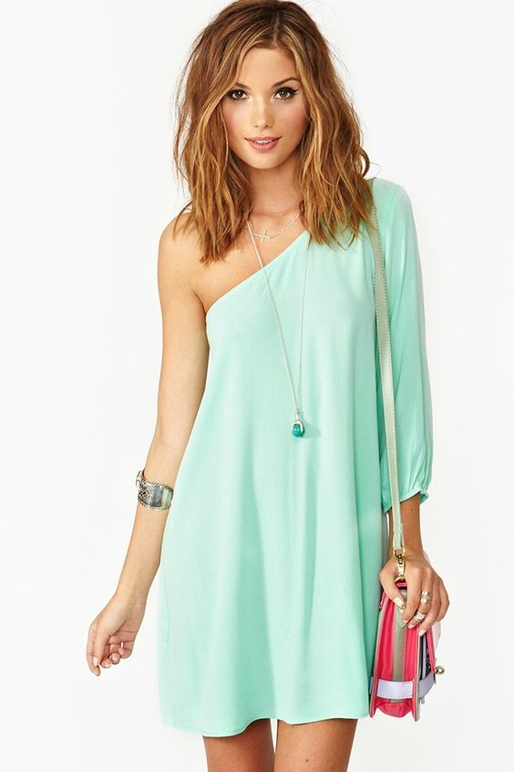 Outfits│Ropa de Mujer - #Women - #Clothing - #Outfit: Summer Dresses, One Shoulder Dresses, Clothes Dresses, Hair Color, Mint Dress