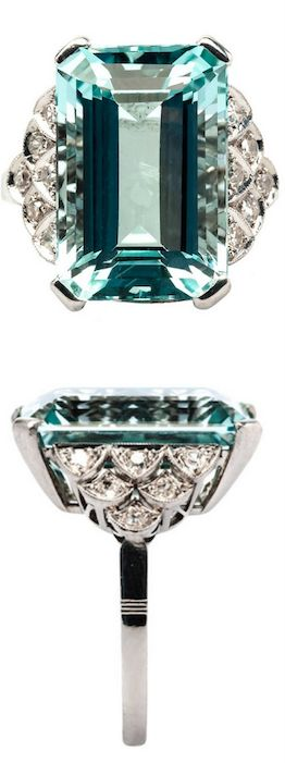 *Aquamarine and Diamond Art Deco Cocktail Ring,