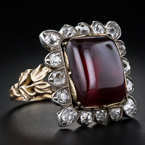 Early Victorian Large Antique Garnet and Diamond Ring