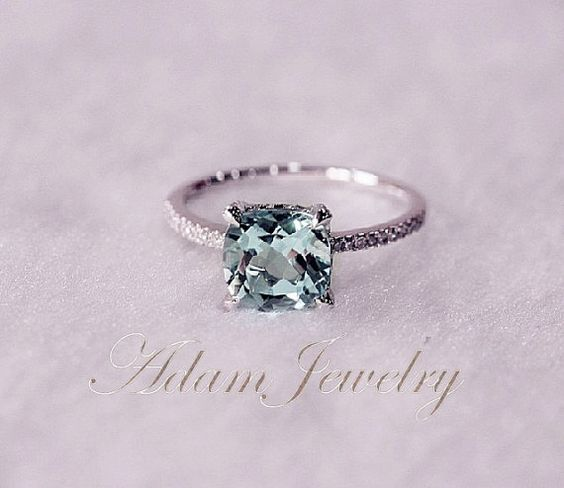 Someone tell my boyfriend this is what I want for my birthday!! 8mm Cushion Cut VS Aquamarine Ring Micro Pave H/SI Diamond Engagement Ring 14K White Gold Wedding Ring/ Promise Ring/ Anniversary Ring on Etsy, $359.00