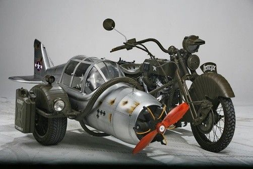 Army sidecar made from a WWII German fighter plane and Yamaha Wild Star motorcycle by Henrix westernfarm: Sidecar Motorcycle, Motorcycle Sidecars, Cars Trucks Motorcycles, Cars And Motorcycles, Motor Sidecar, Cars Motorcycles Planes, Motorbike Sidecar, Ca