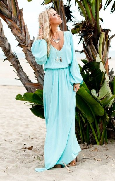 Feel the breeze thru my hair & my eyes will glisten with delight for I can feel the sand below my feet: Beach Dresses, Maxi Dresses, Long Sleeve Maxi Dress, Beautiful Color, Maxi Dress Long Sleeves