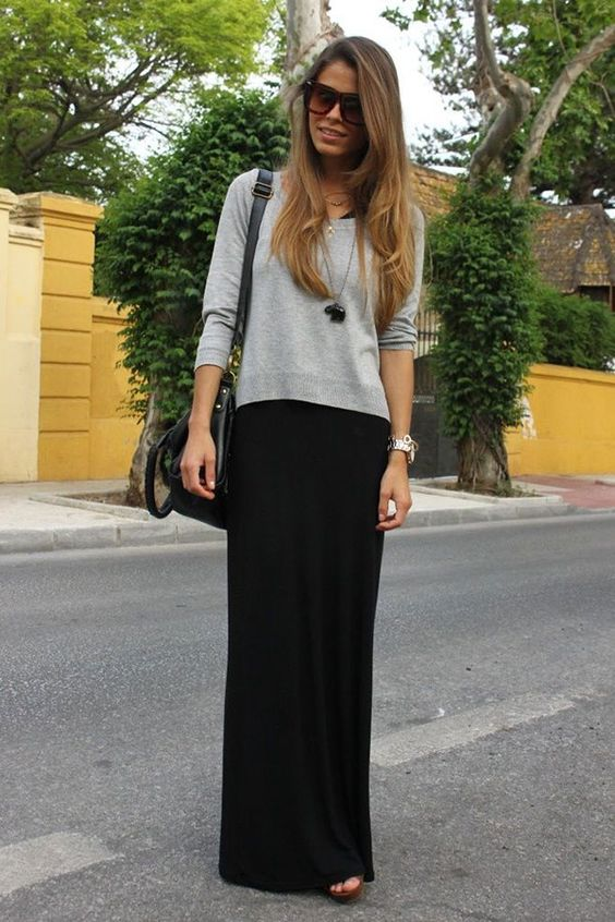 how to wear maxi skirt in winter: Maxi Dresses, Outfit Idea, Black Maxi Dress, Maxi Outfit, Black Maxi Skirt, Maxi Skirt Outfit, Maxi Skirts
