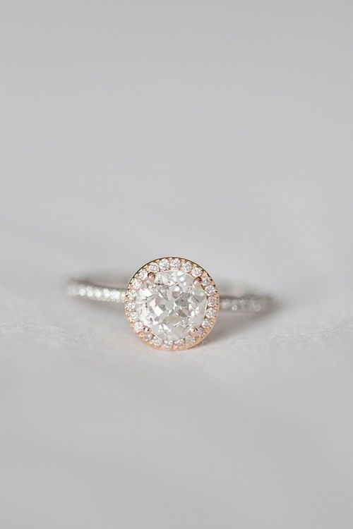 diamond + rose gold engagement ring