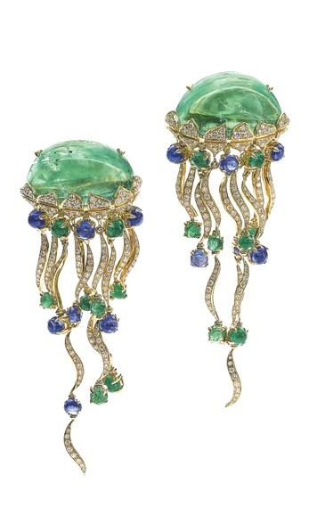 PAIR OF EMERALD, SAPPHIRE AND DIAMOND EAR CLIPS, 'MEDUSE', MICHELE DELLA VALLE