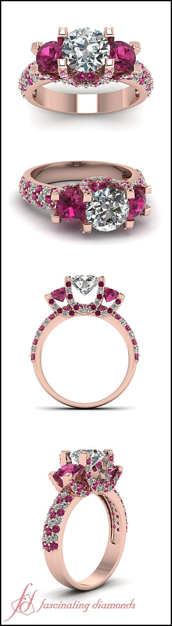 Round Cut Diamond Side Stone Ring With Pink Sapphire In 14K Rose Gold via Jewelry in My Box.