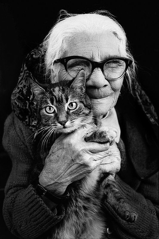 "...Because they are love!    ""We can judge the heart of a man by his treatment of animals."" - Immanual Kant: Crazy Cats, Happiness Is, Cat Women, Black White, Old Women, Animals Immanual, Loving Companionship, Crazy Cat Lady, Crazy Faces People"