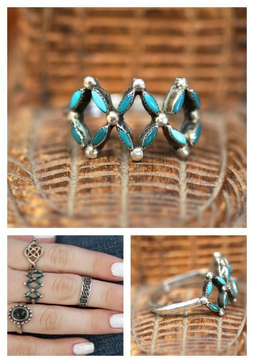 Festival Style Needlepoint Turquoise Ring Sterling Silver Zuni Stacking Boho – Yourgreatfinds