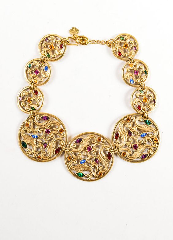 Gold Toned and Multicolor Yves Saint Laurent Jewel Medallion Necklace