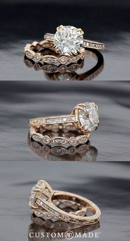 Plan ahead and pick the perfect wedding band to go with your engagement ring. For more ideas see our custom ring gallery: www.custommade.com/gallery/custom-engagement-rings/: Vintage Diamond Wedding Band, Dream Ring, Vintage Gold Engagement Ring, Custom E