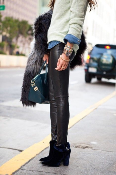 the styling of these leather leggings...: Fashion, Street Style, Outfit, Leather Pants, Leather Leggings, Fall Winter, Leatherpants