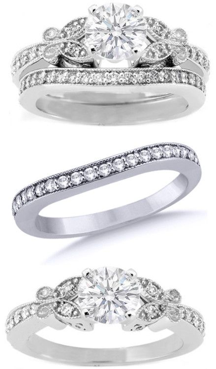Butterfly Vintage Engagement Ring Matching Wedding Band