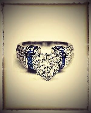 Don't know why I like this so much.~>>Heart Shape Diamond Engagement Ring Square Blue Sapphire Band in 14K White Gold