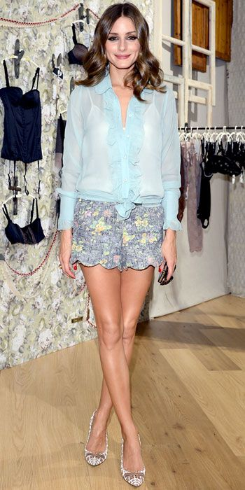 Olivia Palermo - Look of the Day - InStyle - Palermo took in the Intimissimi collection in the label's sheer blouse, scalloped shorts and a pair of printed pumps.