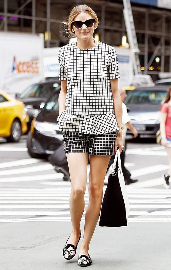 Try mixing graphic prints like Olivia Palermo for a show stopping summer look // #CelebrityStyle