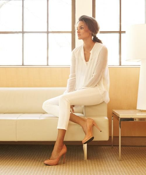 Chiffon white top w/ white skinnies AND NUDE HEELS. Much softer look than white heels.