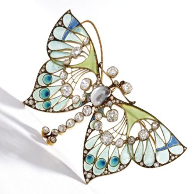 VEVER c1900 | GOLD, DIAMOND, PEARL AND PLIQUE-À-JOUR ENAMEL BUTTERFLY PENDANT-BROOCH  (Sotheby's)