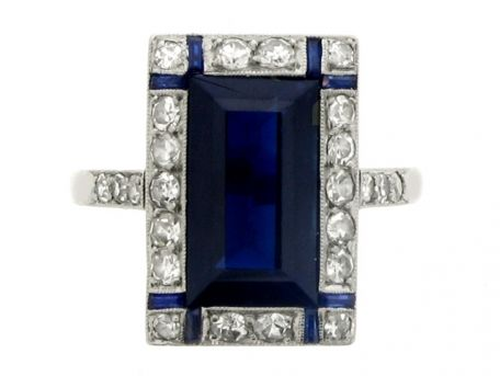 Art Deco sapphire and diamond ring, French, circa 1925.