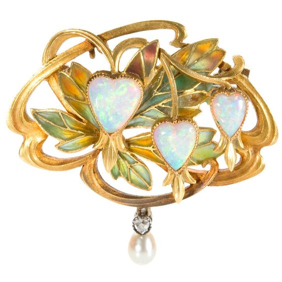 GASTON LAFFITTE Art Nouveau Gold and Enamel Pendant Brooch  France  1900  A French Art Nouveau 18 karat gold brooch with 3 heart shape white opals accented by a freshwater pearl and diamond drop by Gaston Laffitte.    Signed, Gaston Laffitte makers mark,