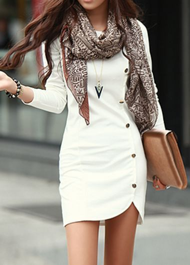 Perfect white dress and scarf for fall