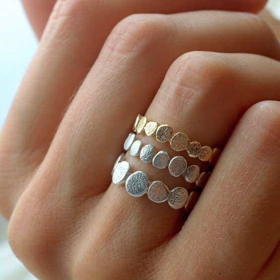 Pretty pebbles of silver and gold. #rings