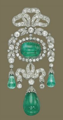 "This is a Belle Epoque brooch made by Cartier set with magnificent colombian emeralds. It would have been appropriate only as ""daytime"" jewellery and not to wear it to a formal occasion. On auction by Christie's Geneva."
