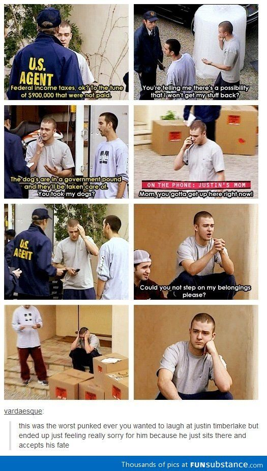 Justin Timberlake Punked' on the first episode. I do feel bad because it was a little cruel. The poor man did start to cry!! But on the other hand it was somewhat funny. I couldn't help but laugh. I happened to come across it online and watched it