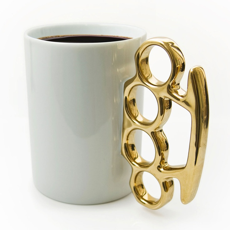 {Knuckle Duster MUG! Gold} Thabto - when you want to start the day feeling gangsta!: Brass Knuckles, Knuckle Duster, Gift Ideas, Gold, Coffee Mugs, Products, Design