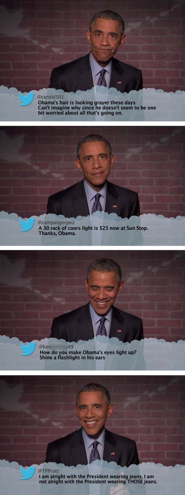President Obama Reads Mean Tweets About Himself - 4 Pics: Obama Reads, Funny Pictures, Obama Humor, U.S. Presidents, Adorable Funny Stuffs, Obama Tweets, Mean Tweets Funny, President Obama, Celebrity Mean Tweets