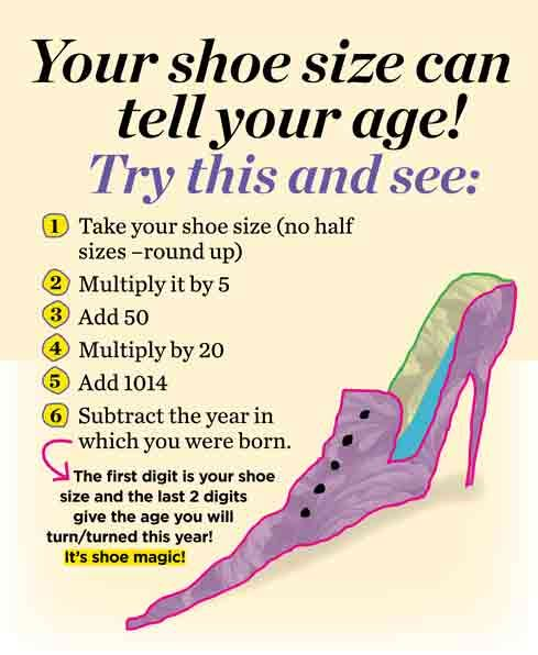 Your shoe size can tell your age?! Try this!   #shoes #loveshoes ✿ #fortheloveofshoes https://fortheloveofshoesllc.com/: Loveshoes Fortheloveofshoes, Crazy Cool Shoes, Size 12 Shoes, Shoe Size Age, Wierd Shoes Funny, Weird Shoes, Year Changes, Shoe Quiz
