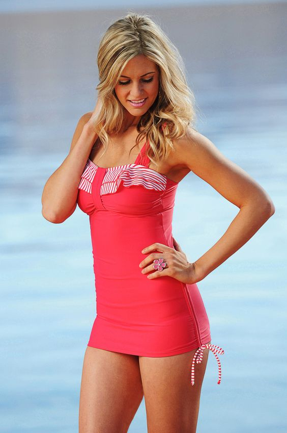 """This website has TONS of cute modest swim suits for women who don't wear bikinis but don't want to buy the dreaded """"mom"""" suit.  divinitasole.com"""