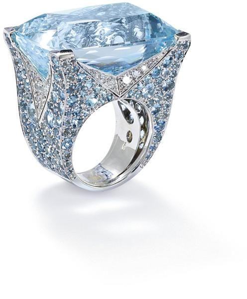 aquamarine and diamond ring, by Vita  Of coarse I love this. It's big, beautiful, and bold enough for me.