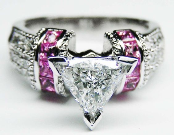 Engagement Ring - Trillion Diamond Engagement Ring Square Pink Sapphire Band in White Gold