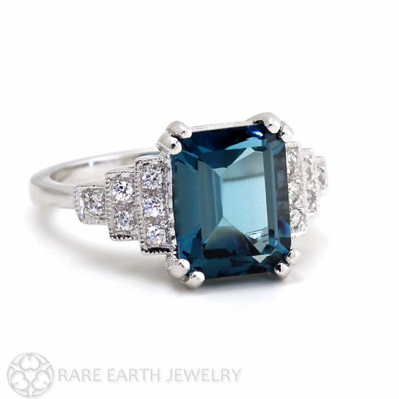 Everything by RareEarth, apparently, is beautiful! Vintage Ring Art Deco Ring London Blue Topaz Ring by RareEarth