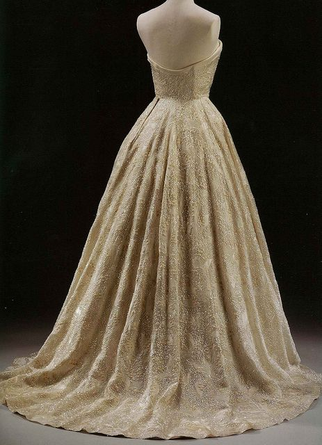 """Hubert de Givenchy - """"Les Muguets"""" (Lily of the Valley) Evening Dress (1955 - Paris)  Silk organdie embroidered with sequins."""