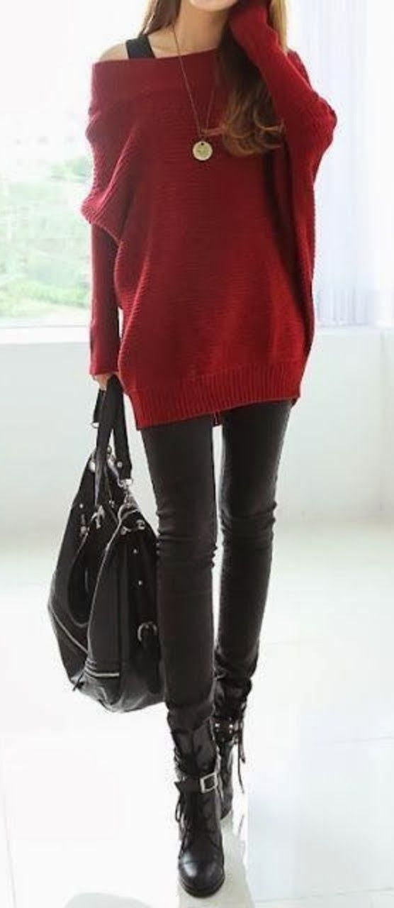 Burgundy loose sweater with black pants and boots: Fashion, Style, Winter Outfit, Fall Outfit, Big Sweater, Fall Winter