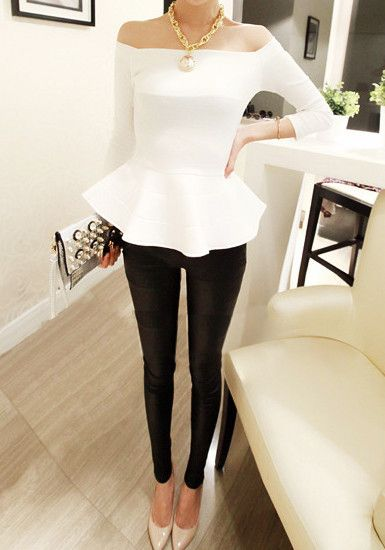 White peplum Off-Shoulder Neckline, black pants, nude heels. Now THAT'S how u work neutrals!: Fashion, Style, Black White, Off Shoulders, Classy Holiday Dress, White Peplum Tops, Black And White Outfit, White Peplum Top Outfit