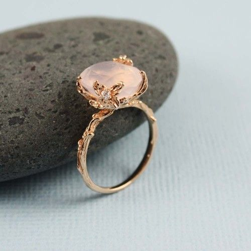 Pink Gold Oval Rose Quartz Ring, $75 | 28 Pieces Of Jewelry That Look More Expensive Than They Are: Vintage Ring, Rose Quartz Ring, Wedding, Rings, Engagement Ring, Rose Gold
