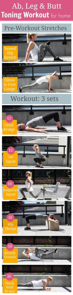 6 Ab and Butt Toning Exercises for Women to Get Toned at Home: Toning Workout, Butt Toning, For Women, Home Workout, Toning Exercises, Work Out, Butt Workout