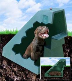 "A dog house heated & cooled using geothermal energy...awesome but how do you keep other ""pests"" out??: Dogs, Pet Stuff, Dog Houses, Fur Babies, Dog Stuff, Underground Dog, Animal"