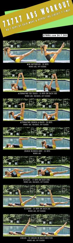 Abs Workout.: 7X7X7 Abs, Workout Ab, Abs Workouts, Exercise Gymra, Fitness Abs Workout, Fit Workouts Abs, Fitness Workouts Abs, Ab Workouts, Butt Workout