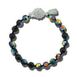 Black & iridescent crystal bracelet.  Made with Swarovski crystals.  Fancy clasp with inlaid crystal.  Customize color and length!: Beaded Bracelet S, Beaded Bracelets, Seed Beads, Bracelets Bangles, Beaded Jewelry