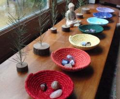Chakra Bowls--nice idea  REDUCE ♥ REUSE ♥ RECYLE  ♥ Be nature and save nature ♥  **** ♥ via ~ Lov Luv ~ ♥ ****: Chakrabowls, Meditation Space, Sacred Space, Chakra Bowls, Meditation Room, Meditation Altar, Chakra Color, Chakras